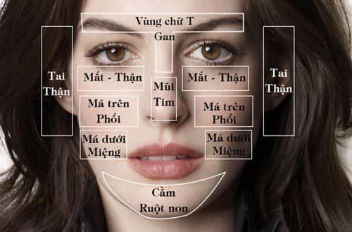 Theo face mapping thì từng vị trí mọc mụn cảnh các bộ phận trong thân thể có vấn đề